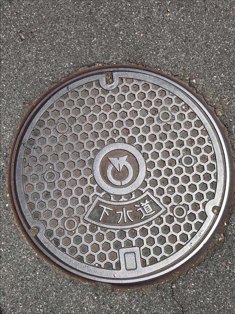 長野県茅野市の下水道のマンホールの蓋(アスファルトの上)