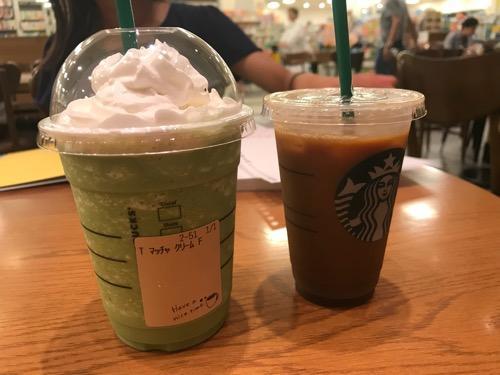 スターバックス TSUTAYA エミフルMASAKI店の抹茶フラペチーノ・トールとアイスコーヒー・ショート