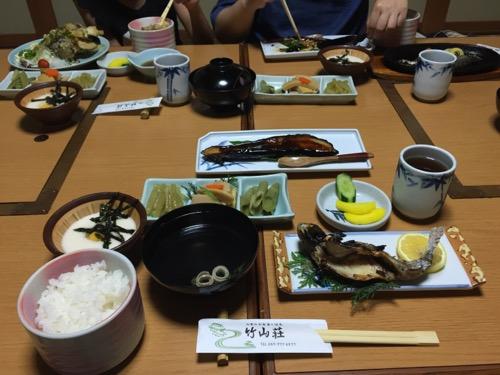 竹山荘の定食(山菜定食など)