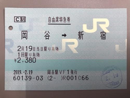 岡谷駅から新宿駅までの自由席特急券