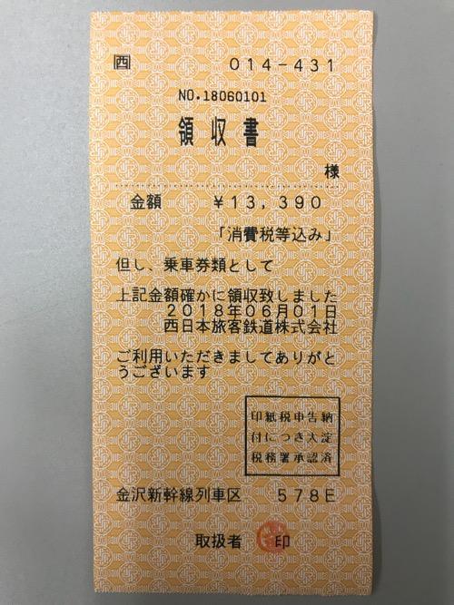 北陸新幹線の車内で東京から上野までの乗車券と新幹線自由席特急券を車掌さんから購入した時にもらった領収書