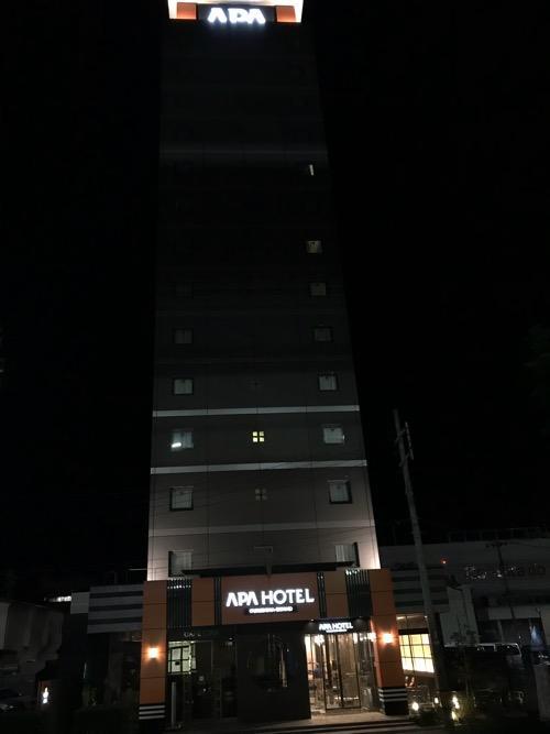 アパホテル福島駅前の建物外観(夜の様子)