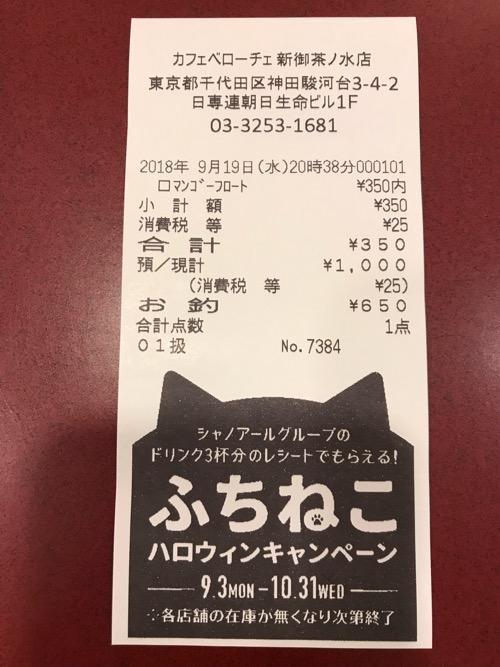 カフェベローチェ新御茶ノ水店のふちねこハロウィンキャンペーンのレシート