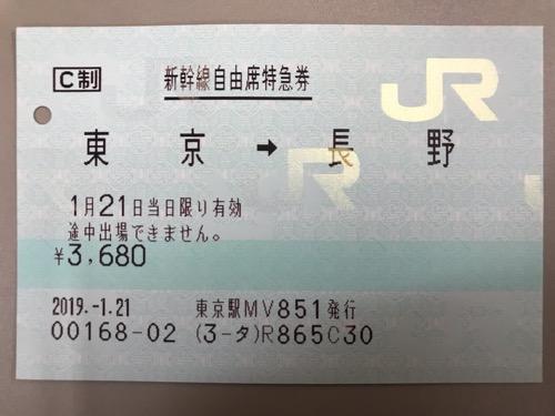 東京駅から長野駅までの新幹線自由席特急券