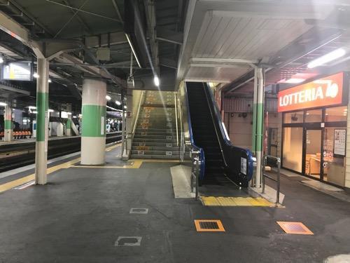 桶川駅1番ホームに隣接するロッテリア