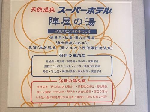 スーパーホテル飛騨・高山 天然温泉 陣屋の湯 温泉成分