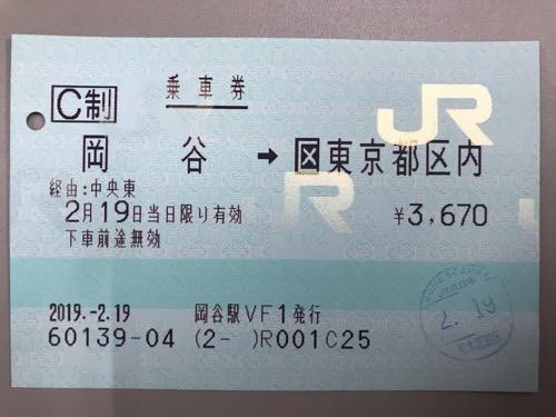 岡谷駅から新宿駅までの乗車券
