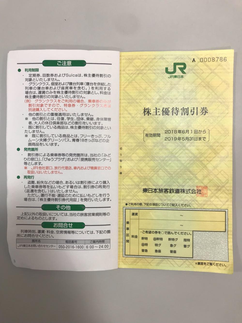 JR東日本株主優待割引券 有効期間2018年6月1日から2019年5月31日 - ご注意、その他、お問合せ
