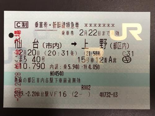 仙台駅から上野駅までの指定席のC制 乗車券・新幹線特急券