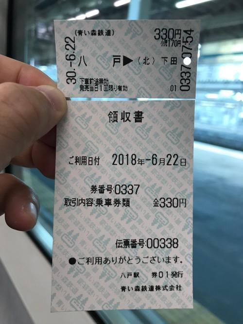 八戸駅から下田駅までの切符(乗車券)と領収書