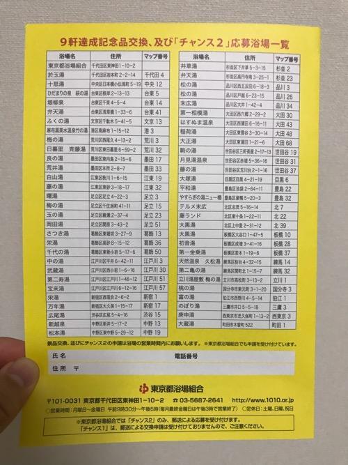 「東京銭湯スタンプラリー2018 ゆっポくんをさがせ!ファイナル」のスタンプノートの裏表紙