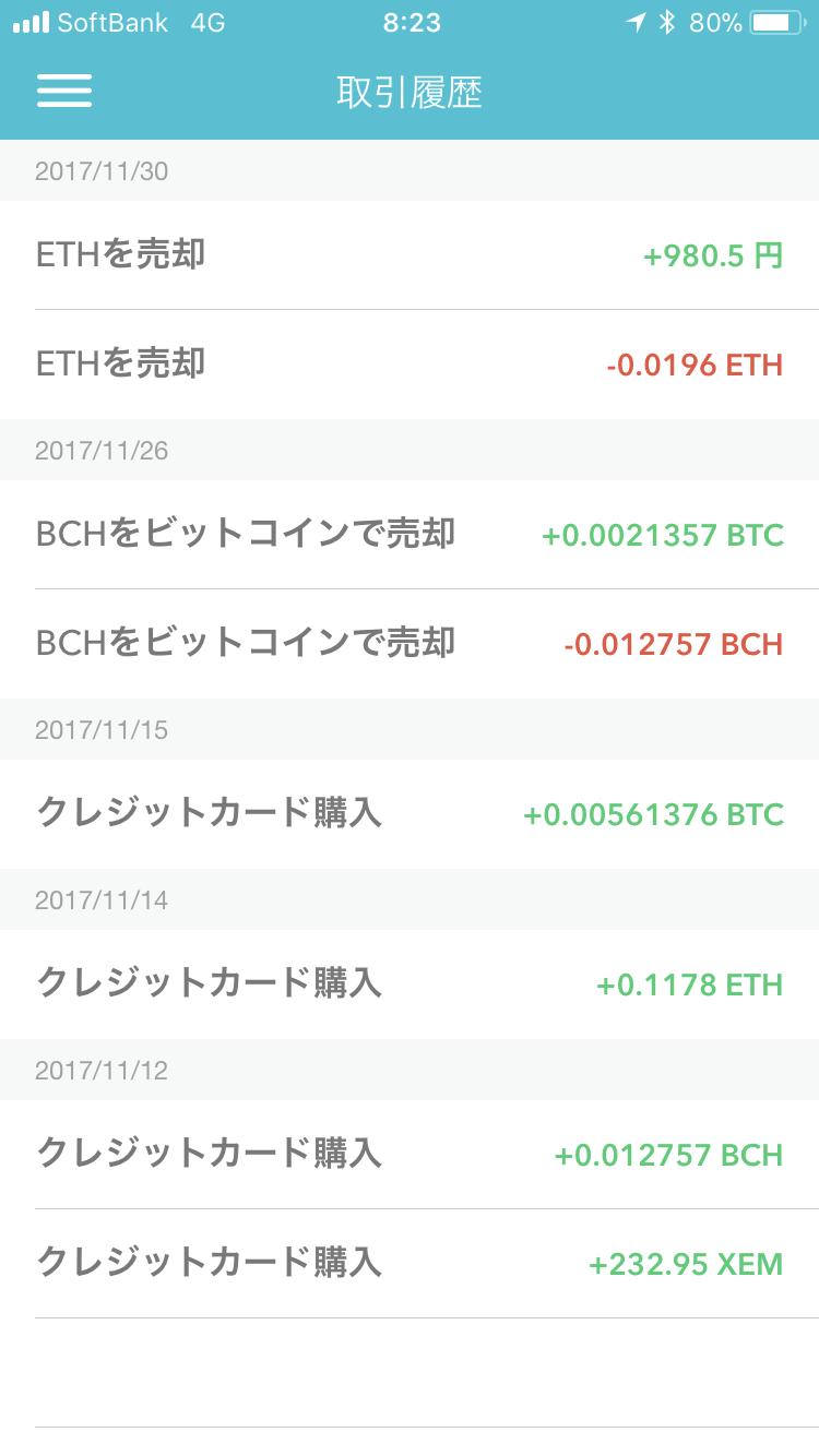 coincheckの取引画面で確認できるイーサリアム(ETH)を日本円に売却した履歴