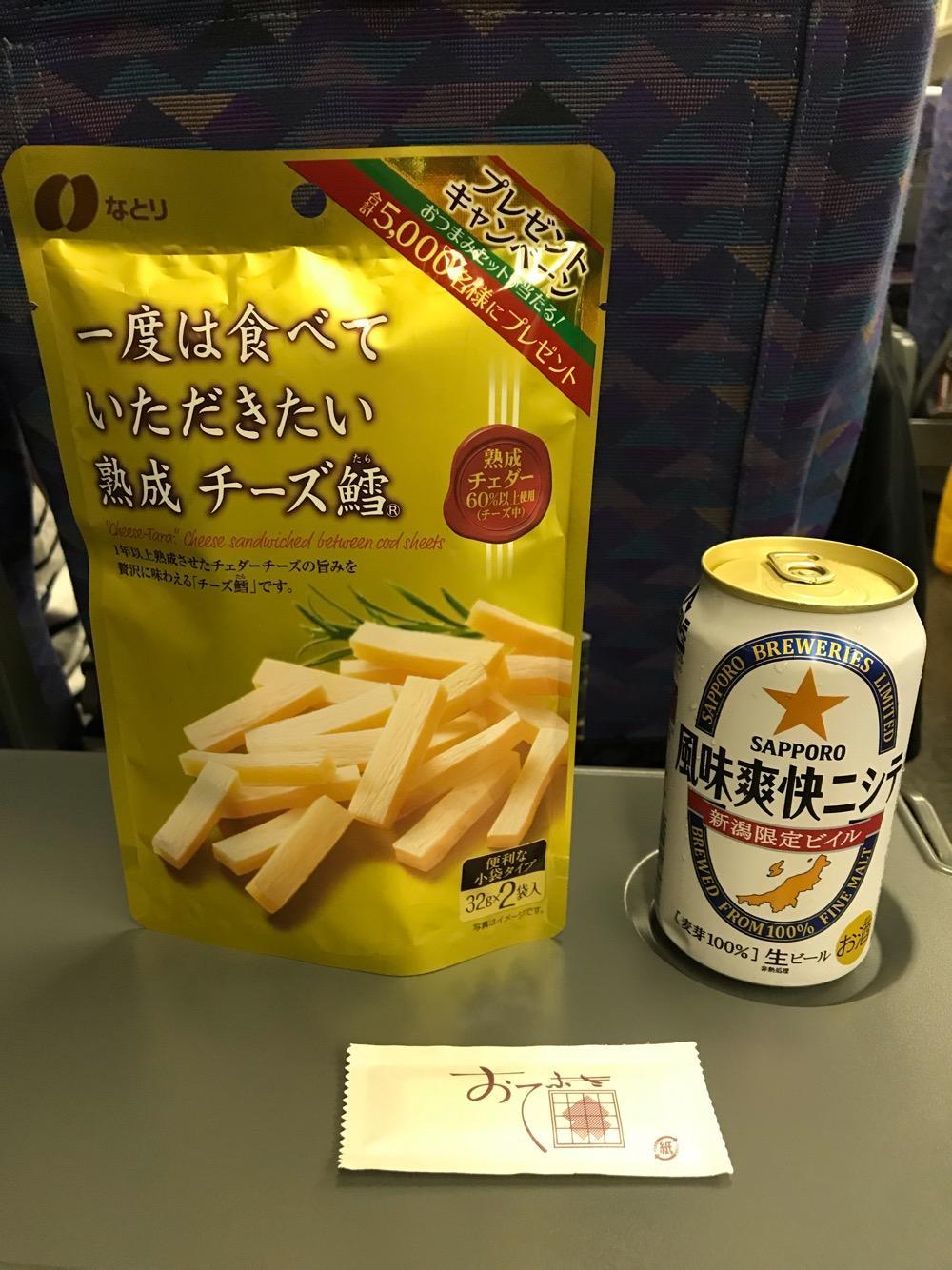なとり「一度は食べていただきたい熟成チーズ鱈(たら)」とサッポロビール「新潟限定ビイル 風味爽快ニシテ」