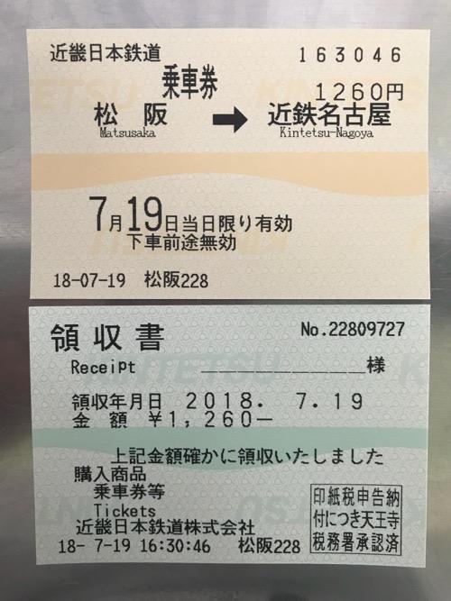 松阪駅から近鉄名古屋駅までの乗車券と領収書