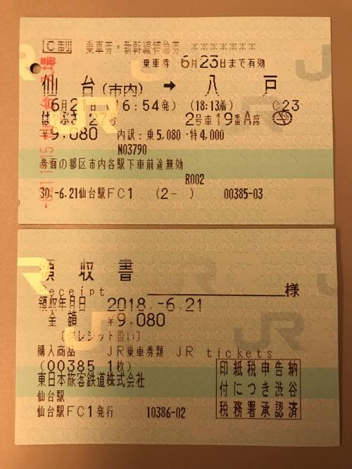仙台駅から八戸駅までの切符(乗車券・新幹線特急券)と領収書
