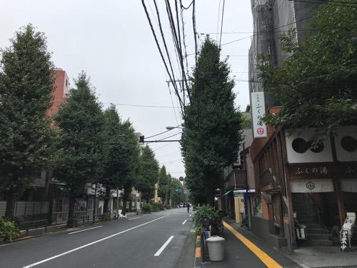 東京都文京区の銭湯・ふくの湯の建物と周辺の風景