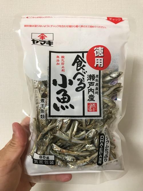 「ヤマキ 徳用 原料原産地 瀬戸内産 酸化防止剤無添加 食べる小魚 煮干魚類」のパッケージ表面