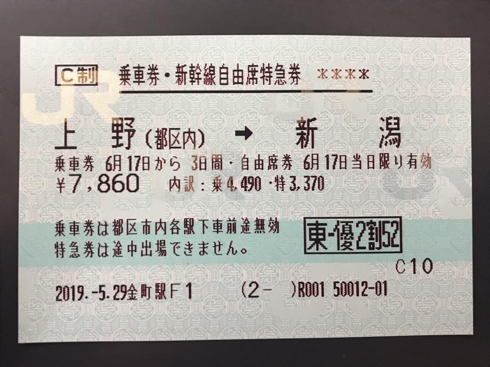 株主優待割引券で購入した上野駅から新潟駅までの乗車券・新幹線自由席特急券