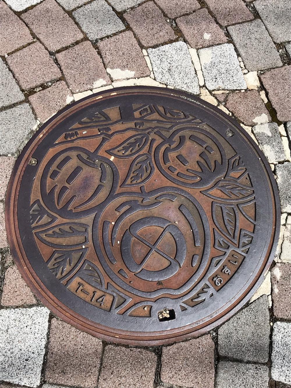 長野県飯田市のマンホールの蓋 - 俺流生パスタ&ワヰン酒場 TATSU屋製麵所前の歩道