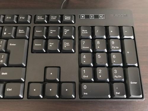 エレコム キーボード 有線 メンブレン式 USB接続 ブラック TK-FFCM01BKのキー配列(右側、テンキー)