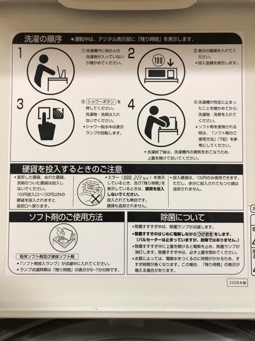 金沢シティホテルのコインランドリーの洗濯機の蓋の裏側に記載されている注意事項等