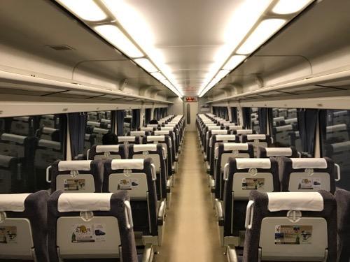 特急しおかぜ4号・岡山行の自由席車両(4号車)の車内の様子(乗客がほとんどいないガラガラの様子)