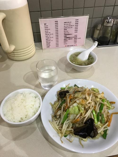 せきぐちラーメン末広店の野菜炒めと小ライス