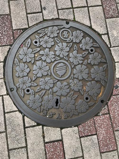 千葉県柏市の「さざんか」と書かれ、千葉県柏市奨励花木のさざんかの花が描かれているマンホールの蓋