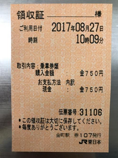 JR東日本の都区内パス購入時の領収証