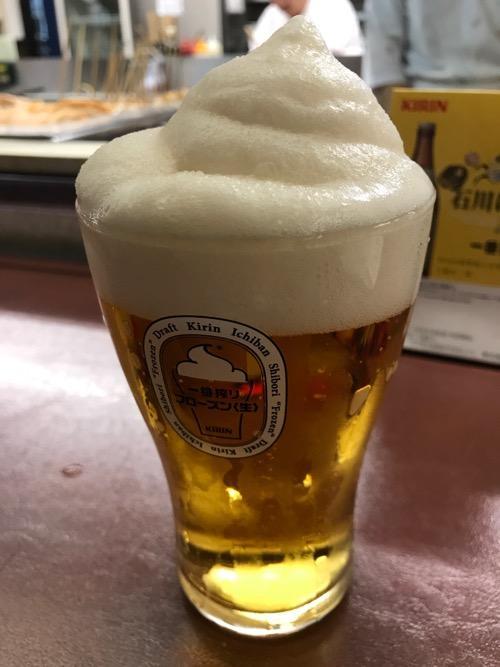 金沢駅の季節料理おでん黒百合のフローズン生ビール