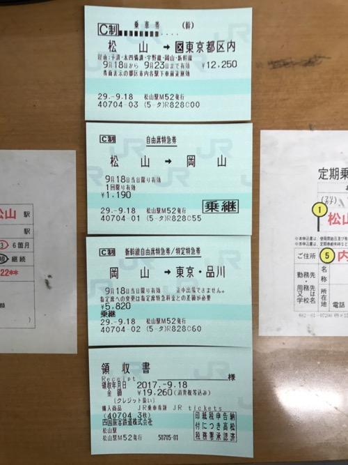 JR松山駅のみどりの窓口で購入した松山駅から東京駅までの乗車券、自由席特急券、新幹線自由席特急券、領収書