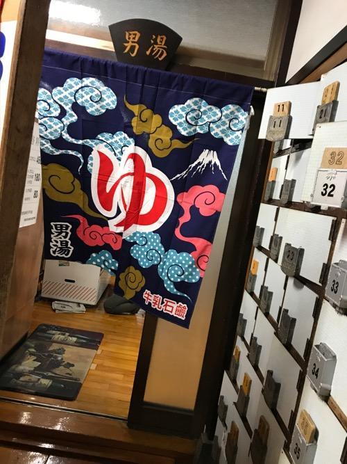東京都台東区上野の銭湯・燕湯の男湯入口前の下駄箱