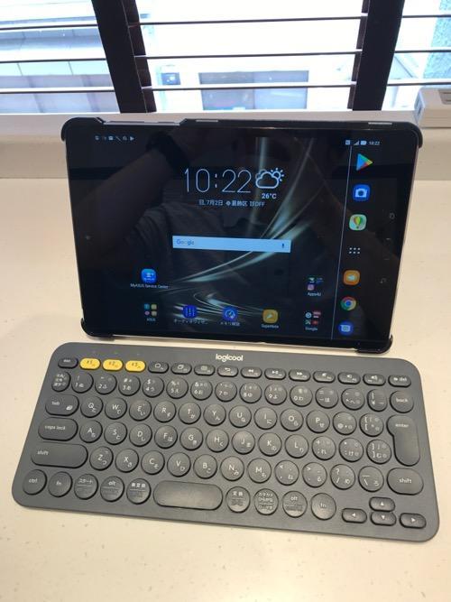 Trocentのタブレットケースを装着したASUS ZenPad 3S 10 (Z500KL)とロジクール K380 マルチデバイス ブルートゥース キーボード