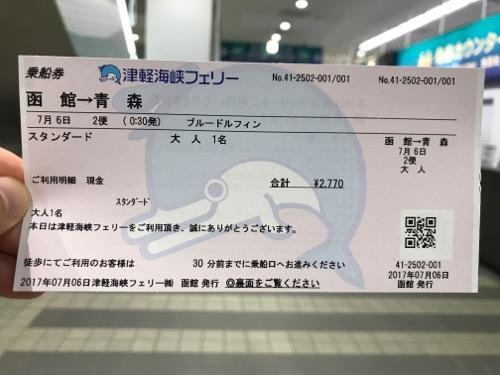 津軽海峡フェリーの函館から青森までの乗船券