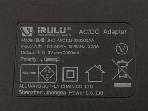iRULU Walknbook W3Mini 8 JW008(Windows 10タブレット)のACアダプターに記載されている内容