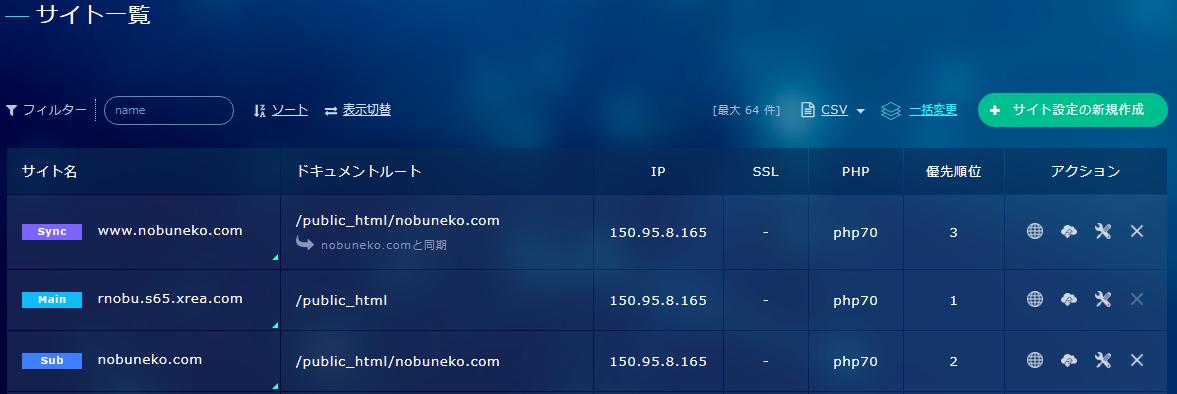 XREAのコントロールパネルの「サイト一覧」