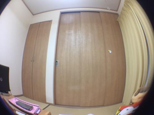100円ショップ・ダイソーの魚眼タイプスマホレンズ(iPhone 6装着)で撮影した和室の押入れ扉の様子