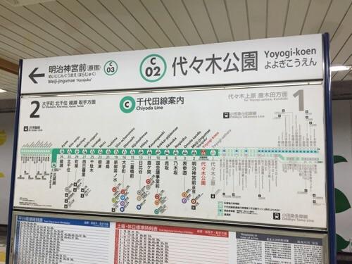 東京メトロ千代田線の代々木公園駅にある路線図