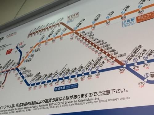 京成金町駅にあるきっぷ運賃表-大久保駅付近