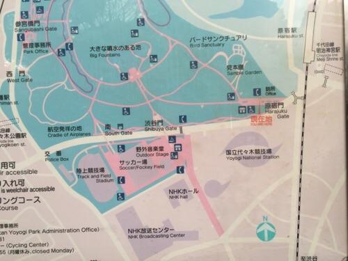 代々木公園の原宿門付近の地図