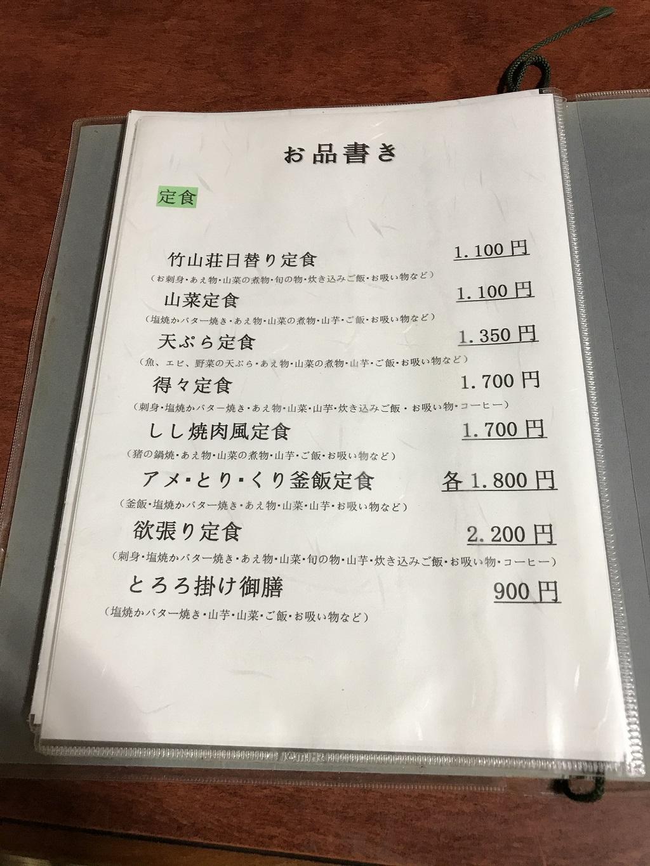 竹山荘の定食用のメニュー
