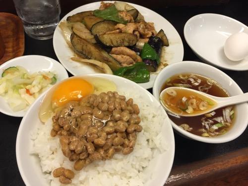 中華工房 和 亀有南口駅前のなすの生姜炒定食