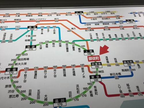 JR御徒町駅のJR線近距離きっぷ運賃表-御徒町駅付近