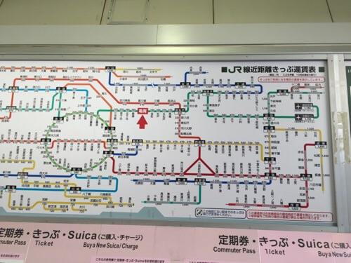 JR亀有駅の自動券売機の上に掲示されているJR線近距離きっぷ運賃表