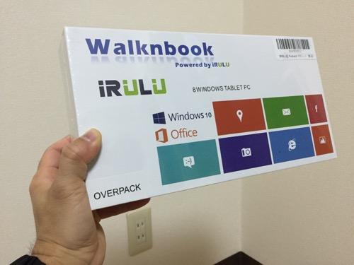 片手で持つiRULU Walknbook W3Mini 8 JW008(Windows 10タブレット)の箱