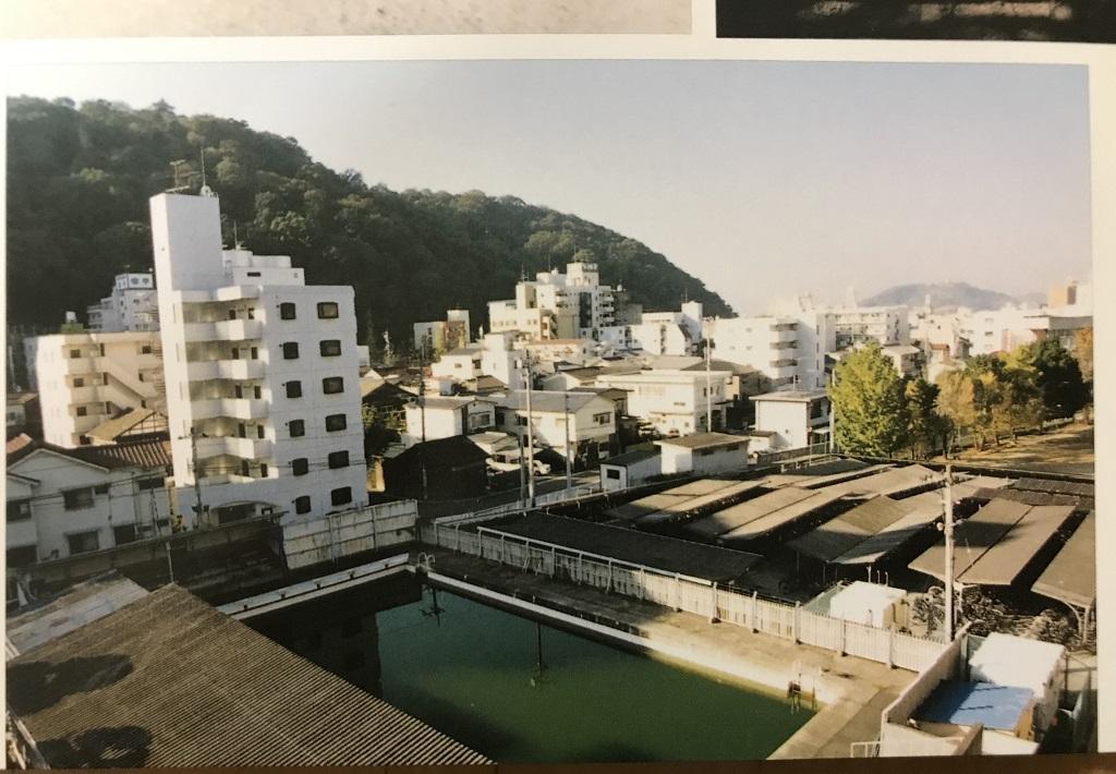 愛媛県立松山北高校の写真(1990年代のプールと自転車置き場)