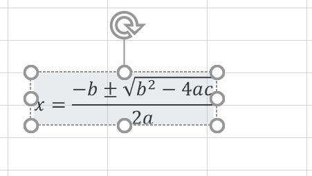 Excel 2019のシートに挿入された「二次方程式の解の公式」