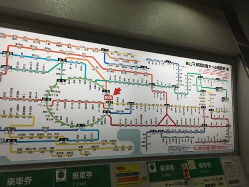 JR御徒町駅のJR線近距離きっぷ運賃表
