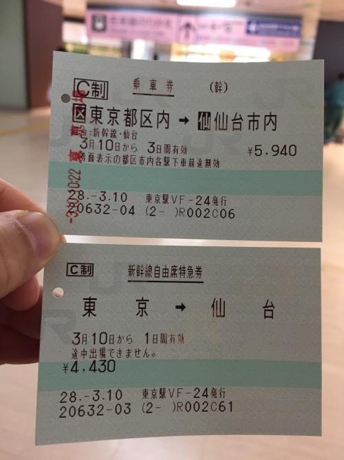 東京駅から仙台駅までの乗車券と新幹線自由席特急券