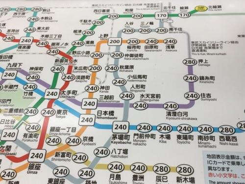 東京メトロ北綾瀬駅の東京メトロきっぷ運賃表-北綾瀬駅付近